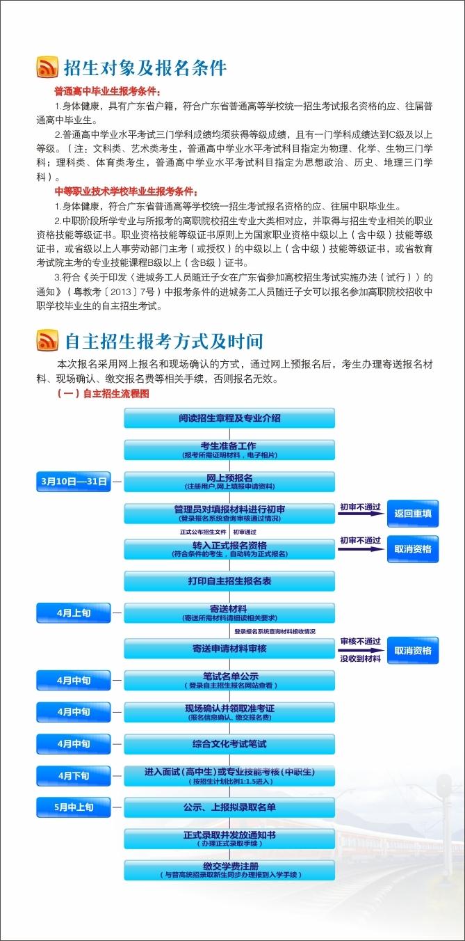 2016年广州铁路职业技术学院自主招生简章