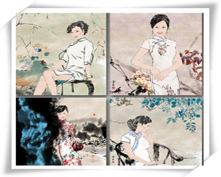 武汉大三女生手绘旗袍